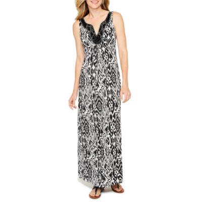 Ronni Nicole Sleeveless Embellished Pattern Maxi Dress