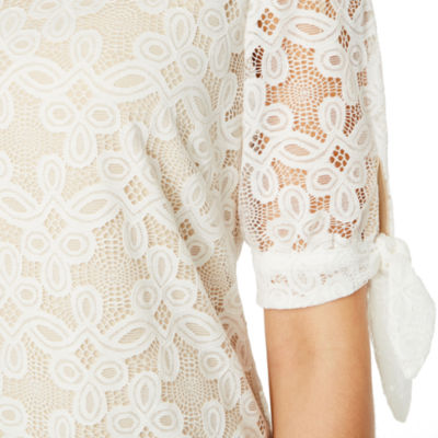 Ronni Nicole Short Sleeve Lace Pattern Shift Dress