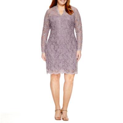 Blu Sage Long Sleeve Lace Sheath Dress-Plus