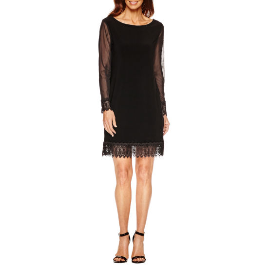 Tiana B Long Sleeve Lace Trim Sheath Dress-Petites