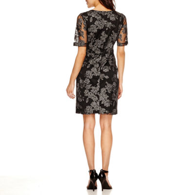 Scarlett 3/4 Sleeve Embellished Pattern Fit & Flare Dress