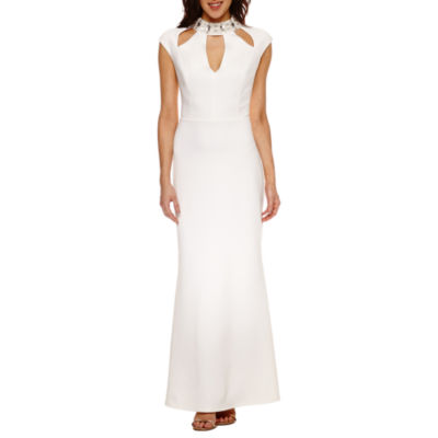 Blu Sage Short Sleeve Cut Outs Embellished Evening Gown-Petite