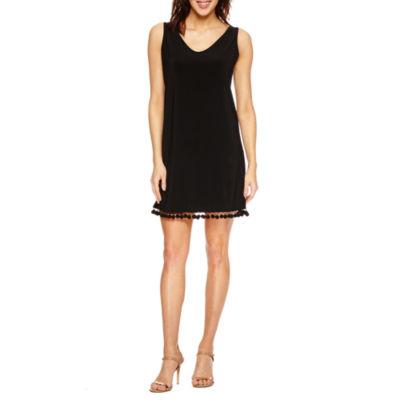 Tiana B Sleeveless Pom-Trim A-Line Dress-Petites
