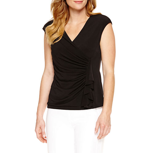 Black Label by Evan-Picone Sleeveless V Neck Jersey Blouse