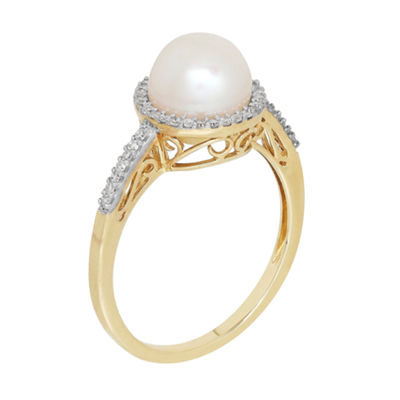 Sofia Womens 1/6 CT. T.W. White Pearl 10K Gold Cocktail Ring