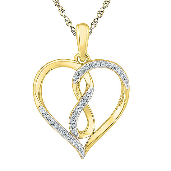 Womens 1/10 CT. T.W. Genuine White Diamond 10K Gold Heart Pendant Necklace Set
