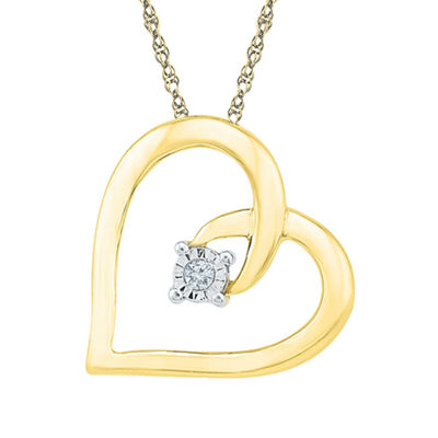 Diamond Accent 10K Yellow Gold Heart Pendant Necklace