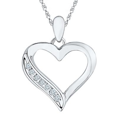 Diamond Accent 10K White Gold Heart Pendant Necklace
