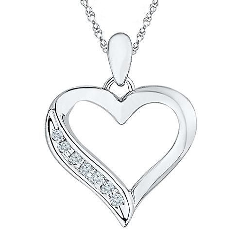 Diamond Accent 10K White Gold Heart Pendant Necklace