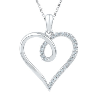 Womens 1/8 CT. T.W. White Diamond 10K Gold Heart Pendant Necklace