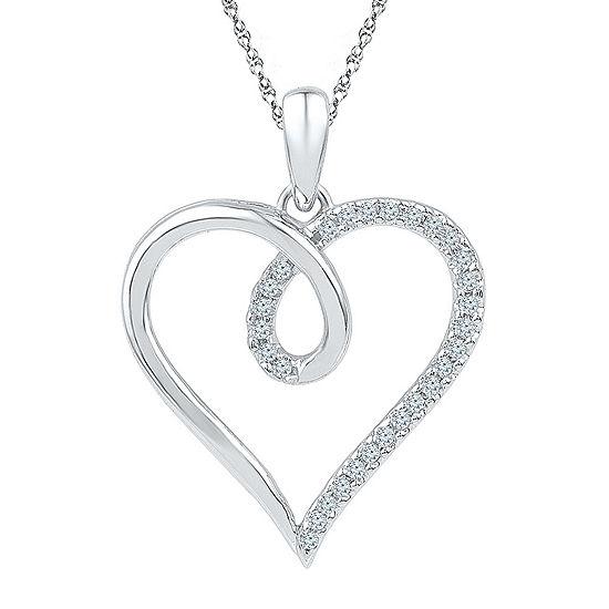 Womens 1 8 Ct Tw Genuine White Diamond 10k Gold Heart Pendant Necklace