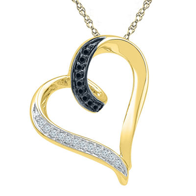 White and Color Enhanced Black Diamond Accent 10K Yellow Gold Heart Pendant Necklace