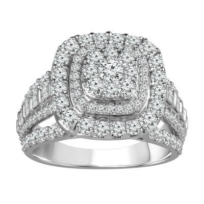 Womens 2 CT. T.W. Genuine White Diamond 10K Gold Round Engagement Ring
