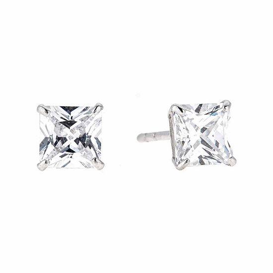 White Cubic Zirconia 14K Gold 5mm Stud Earrings