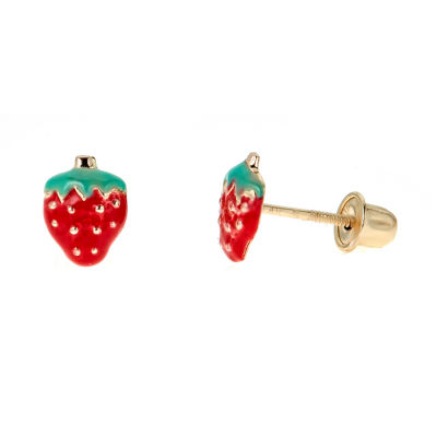 14K Gold 6mm Strawberry Stud Earrings