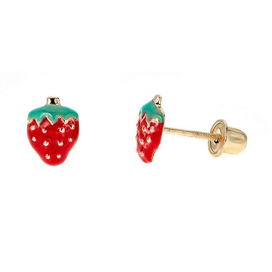 14k Gold 6mm Strawberry Stud Earrings