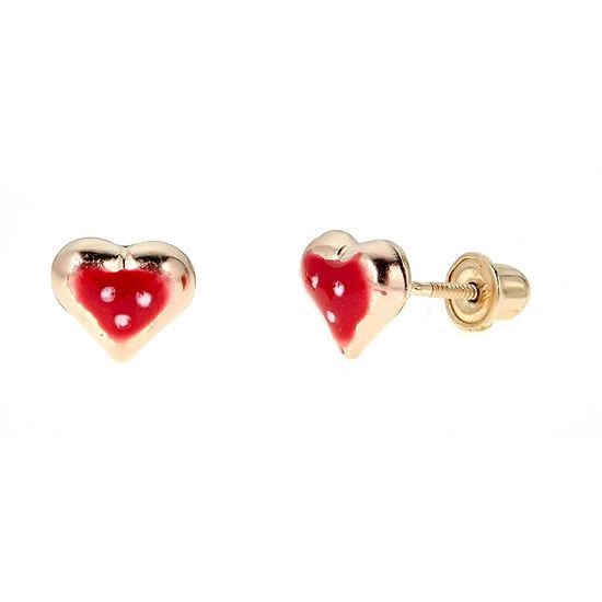 Girls Heart-Shaped 14K Gold 6mm Heart Stud Earrings