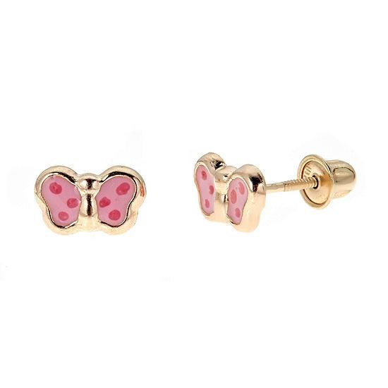 Girls Butterfly 14K Gold 7mm Butterfly Stud Earrings