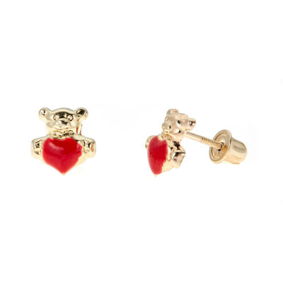 Teddy Bear With Heart Shaped 14K Gold 6mm Heart Stud Earrings