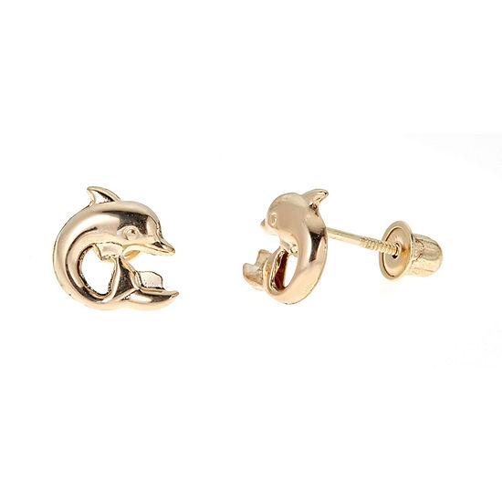14K Gold 8mm Dolphin Stud Earrings
