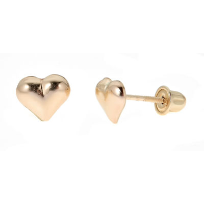14K Gold 6mm Heart Stud Earrings