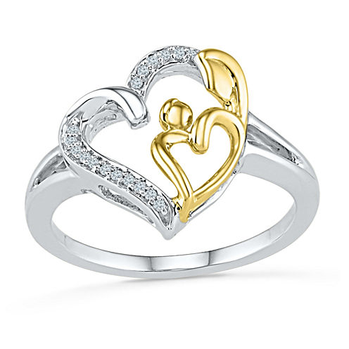 Womens Diamond Accent Genuine White Diamond Gold Over Silver Cocktail Ring