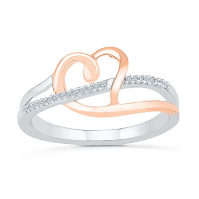 Womens Diamond Accent Genuine White Diamond 10K Gold Over Silver Heart Cocktail Ring