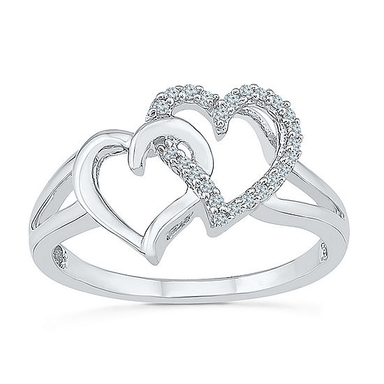 Womens 1/10 CT. T.W. Genuine White Diamond Sterling Silver Heart Cocktail Ring