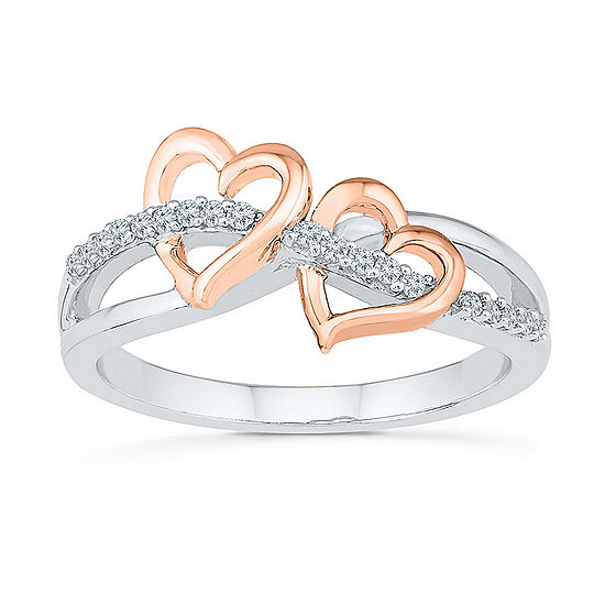 Womens 1 8 Ct Tw Genuine White Diamond 10k Gold Over Silver Heart Cocktail Ring