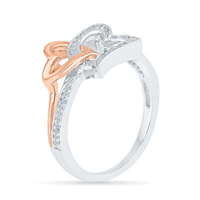 Womens 1/6 CT. T.W. Genuine White Diamond 10K Gold Over Silver Heart Cocktail Ring