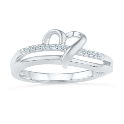 Womens Diamond Accent White Diamond Sterling Silver Cocktail Ring