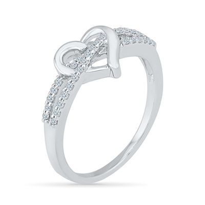 Womens 1/6 CT. T.W. Genuine White Diamond Sterling Silver Heart Cocktail Ring