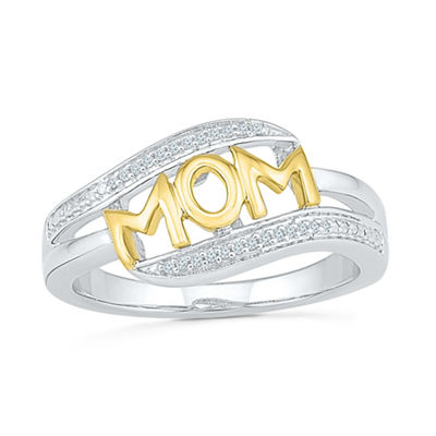 Womens Diamond Accent Genuine White Diamond 10K Gold Over Silver Cocktail Ring