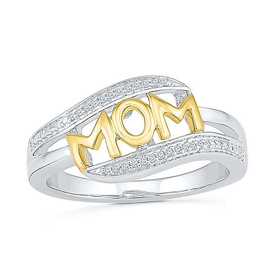 """Mom"" Womens Diamond Accent Genuine White Diamond 10K Gold Over Silver Cocktail Ring"
