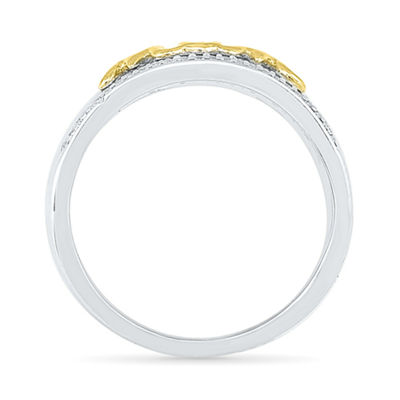 Womens 1/6 CT. T.W. White Diamond Gold Over Silver Cocktail Ring
