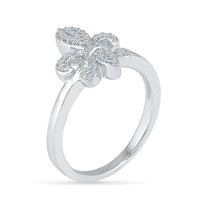 Womens 1/6 CT. T.W. White Diamond Sterling Silver Cocktail Ring