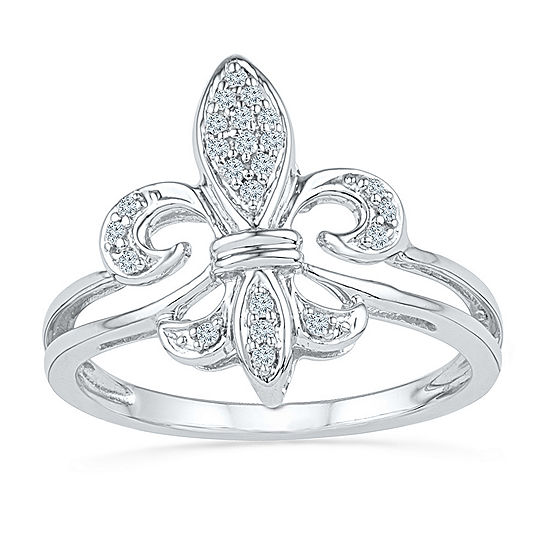 Womens 1/8 CT. T.W. Genuine White Diamond Sterling Silver Cocktail Ring