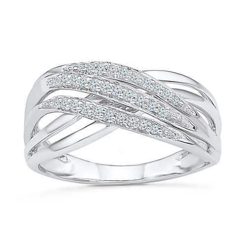 Womens 1/8 CT. T.W. Genuine White Diamond Sterling Silver Crossover Ring
