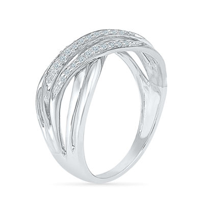 Womens 1/8 CT. T.W. White Diamond Sterling Silver Crossover Ring