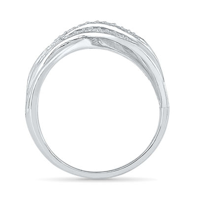 Womens 1/8 CT. T.W. Genuine White Diamond Sterling Silver Crossover Cocktail Ring