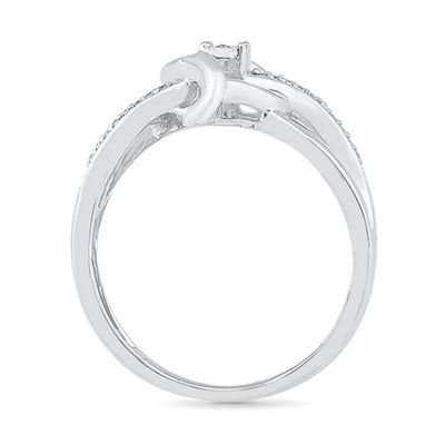 Womens Diamond Accent White Diamond Sterling Silver Crossover Ring