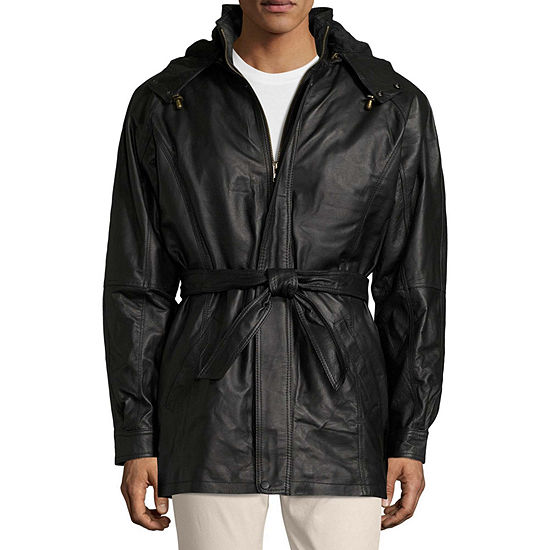 Vintage Leather Hooded Parka With Zip Out Lining