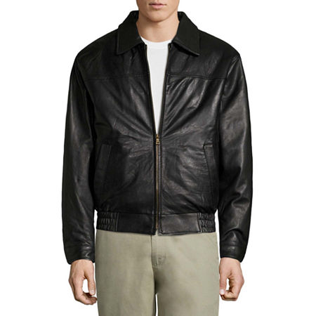 Vintage Leather Lambskin Bomber Jacket with Zip Out Lining, Large , Black