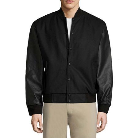 Vintage Leather Classic Varsity Jacket, Small , Black