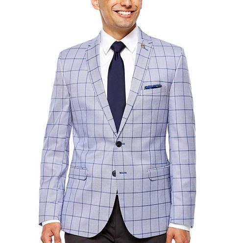 Nick Graham Navy Windowpane Slim Fit Woven Sport Coat