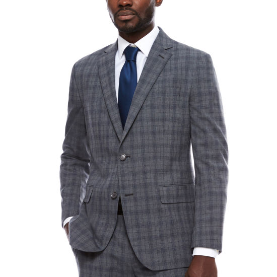 JF J.Ferrar Plaid Slim Fit Stretch Suit Jacket-Slim