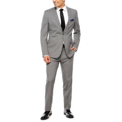 Nick Graham Grey Windowpane Slim Suit Set