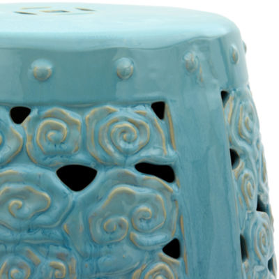 Oriental Furniture Carved Clouds Porcelain Patio Garden Stool