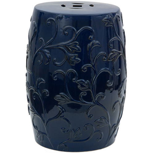 Oriental Furniture Carved Flowers Porcelain PatioGarden Stool