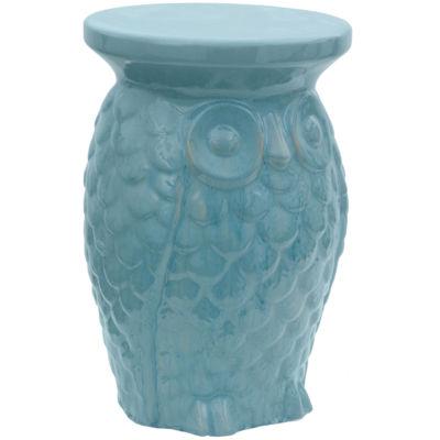 Oriental Furniture Carved Owl Porcelain Patio Garden Stool